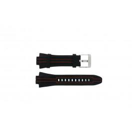 Seiko horlogeband 7L22-0AD0 Leder Zwart 15mm + oranje stiksel