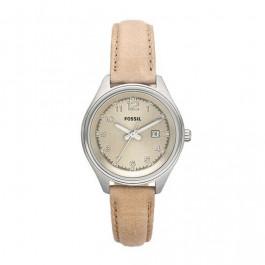 Horlogeband Fossil AM4377 Leder Beige 14mm