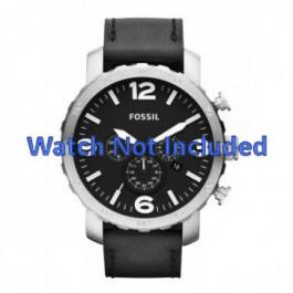 Horlogeband Fossil JR1436 Leder Zwart 24mm