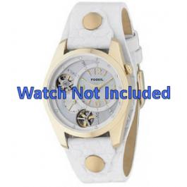 Horlogeband Fossil ME1039 Leder Wit 18mm