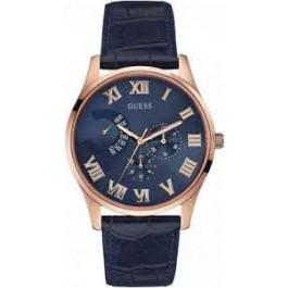 Horlogeband Guess W0608G2 Leder Blauw 22mm