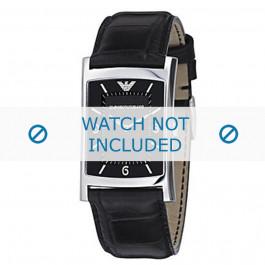 Armani horlogeband AR-0147 Croco leder Zwart 22mm
