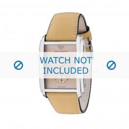 Armani horlogeband AR-4202 Leder Cream wit 26mm