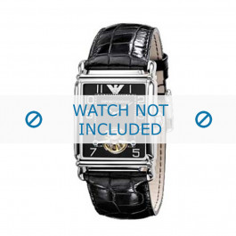 Armani horlogeband AR-4222 Croco leder Zwart 26mm