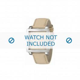 Armani horlogeband AR-5813 Leder Cream wit 24mm