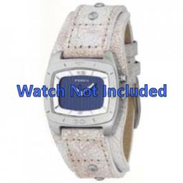Horlogeband Fossil BG2043 Onderliggend Leder Beige 20mm