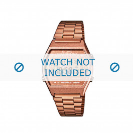 Casio horlogeband  B640WC-5AEF / B640WC-5A  Staal Goud (Rosé) 18mm