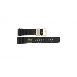 Horlogeband Universeel CMT-22-DBL Rubber Zwart 22mm