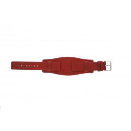 Horlogeband Universeel B0223 Onderliggend Leder Rood 20mm