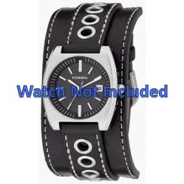 Horlogeband Fossil JR8205 Onderliggend Leder Zwart 16mm