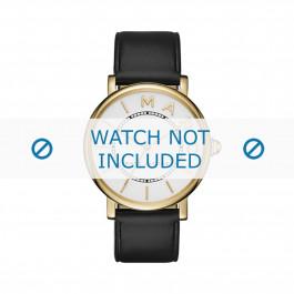Marc by Marc Jacobs horlogeband MJ1532 Glad leder Zwart 18mm + zwart stiksel