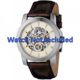 Horlogeband Fossil ME1026 Leder Bruin 22mm