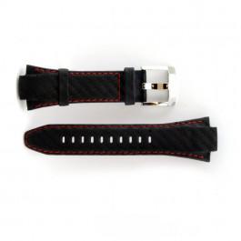 Horlogeband Seiko 7T62-0ED / SNA633P1 Leder Zwart 15mm