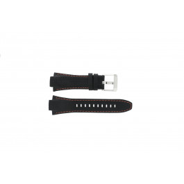 Horlogeband Seiko 7T62-0ED0 / H023 00C0 / SNJ007P Leder Zwart 15mm