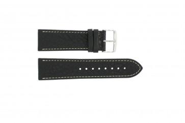 Horlogeband 307.01 Leder Zwart 18mm + wit stiksel
