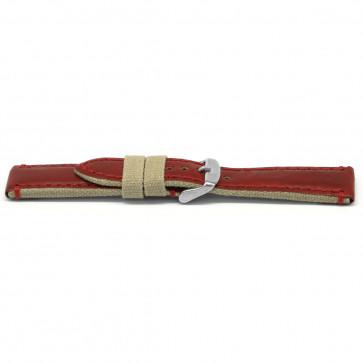 Horlogeband leder Rood 22mm EX-H728