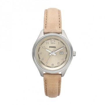 Horlogeband Fossil AM4377 Leder Beige 22mm
