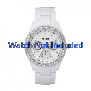 Horlogeband Fossil ES1967 Kunststof/Plastic Wit 9mm