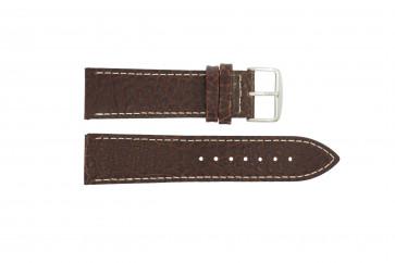 Horlogeband I320 Leder Bruin 24mm + wit stiksel