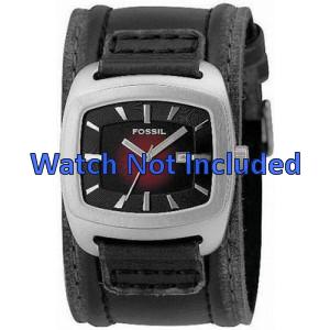 Horlogeband Fossil JR9498 Onderliggend Leder Zwart 22mm