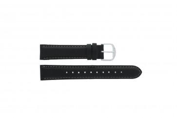 Q&Q horlogeband QQ18LD-WS-GS Glad leder Zwart 18mm + wit stiksel