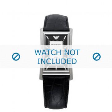 Armani horlogeband AR-0158 Croco leder Zwart 23mm
