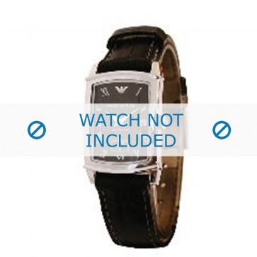 Armani horlogeband AR-0240 Croco leder Zwart 16mm