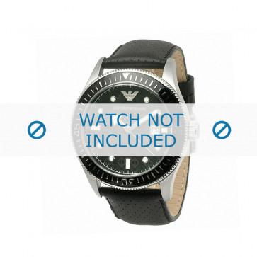 Horlogeband Armani AR0555 Leder Zwart 26mm