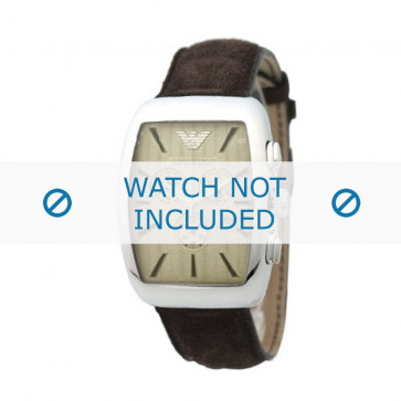 Armani horlogeband AR-0908 Leder Bruin 21mm