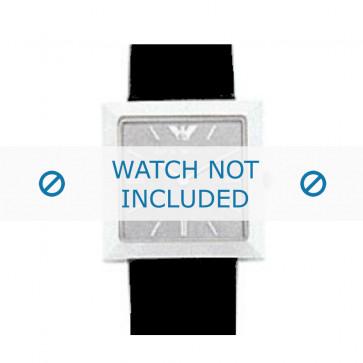 Armani horlogeband AR-2300 Leder Zwart 23mm