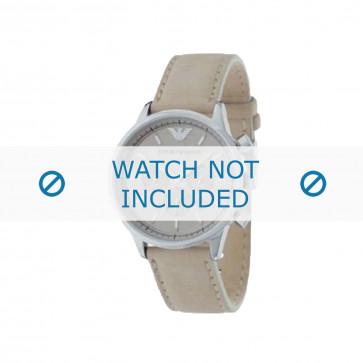 Armani horlogeband AR-0619 Leder Cream wit 20mm