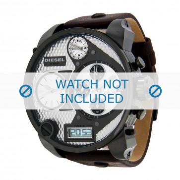 Diesel horlogeband DZ7126 Leder Donkerbruin 29mm