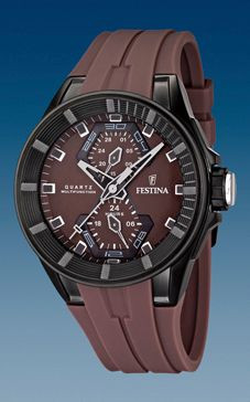 Horlogeband Festina F16612-2 / F16611-2 Rubber Bruin 18mm