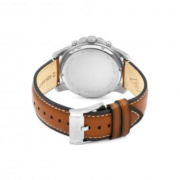Fossil horlogeband FS5210 Leder Bruin 22mm + wit stiksel