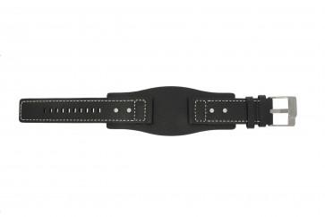 Fossil horlogeband JR9991 / AM3696 Leder Zwart 24mm