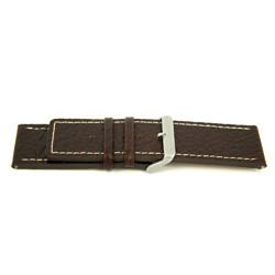 Echt lederen horloge band bruin met wit stiksel 30mm H79
