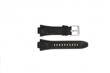 Seiko horlogeband 7L22-0AE0 / SNL017P1 / 4KG8JZ /SNL021P9 Leder Zwart 15mm + oranje stiksel