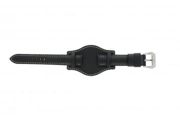 Horlogeband Universeel 386.1 Onderliggend Leder Zwart 22mm