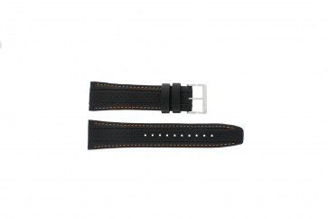 Horlogeband Seiko 7T62-0HL0 / SNAB59P1 Leder Zwart 24mm