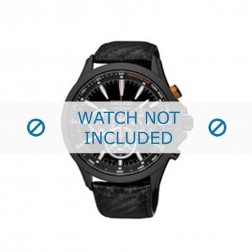 Horlogeband Seiko SSC499P1 / V175 0DM0 Leder Zwart 22mm