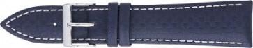Carbon horlogeband donker blauw met wit stiksel 24mm 321
