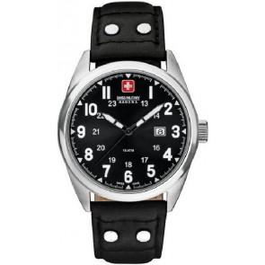 Horlogeband Swiss Military Hanowa 06-4181.04.007 Leder Zwart 22mm