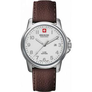 Swiss Military Hanowa horlogeband 06-4231-04-001 Leder Bruin 24mm + bruin stiksel