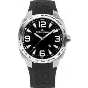 Horlogeband Jacques Lemans 1-1224 Rubber Zwart 19mm