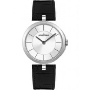 Horlogeband Jacques Lemans 1-1663 Leder Zwart