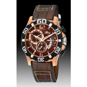 Lotus horlogeband 15535-3 Leder Donkerbruin + standaard stiksel