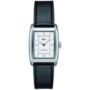 Lacoste horlogeband 2000642 / 2000643 / LC-49-3-14-2242 Leder Zwart 16mm + zwart stiksel