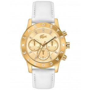 Lacoste horlogeband 2000854 / LC-73-3-34-2534 Leder Wit 20mm + wit stiksel