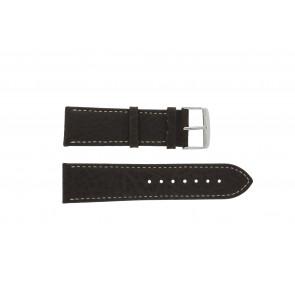 Horlogeband 307.02 XL Leder Bruin 20mm + wit stiksel
