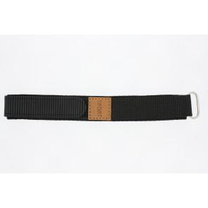 Horlogeband Universeel B001B-20 Onderliggend Klittenband Zwart 20mm